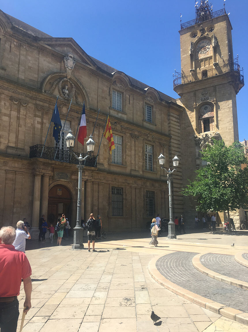 Aix Walking Tours Town Hall with the earlier Clock Tower