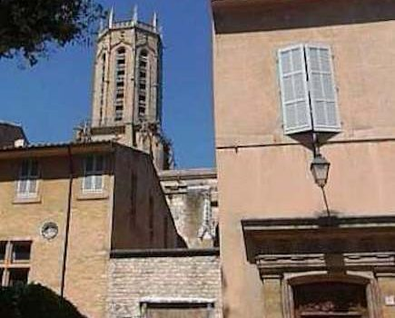 Cathedral Bell Tower and Square Ambiance d'Aix two bedroom apartment