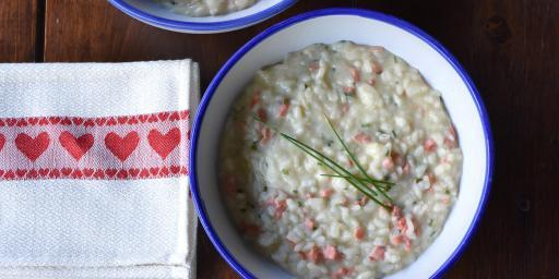 Salmon Risotto with Goat Cheese