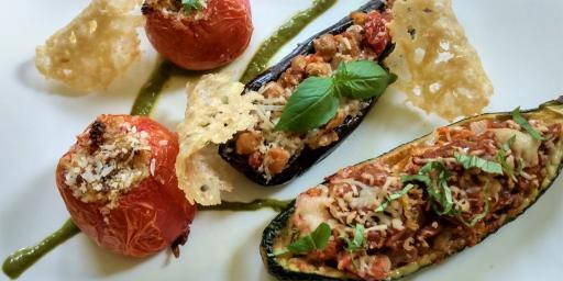 Stuffed Aubergine Eggplant Zucchini Tomatoes